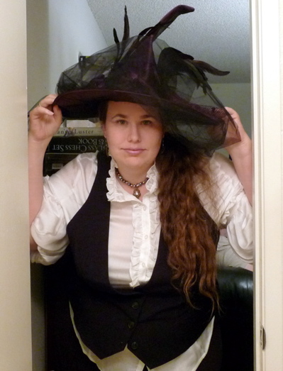 Witch hat, blouse, vest.
